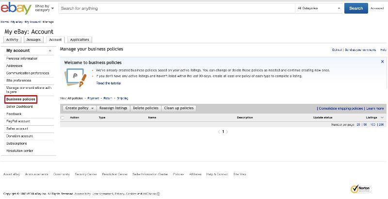 ebayビジネスポリシーの設定画面